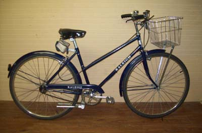 Stylish vintage Raleigh Sports ladies city bike with basket